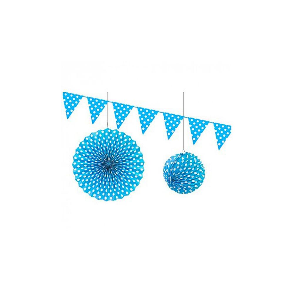 Décoration papier à pois turquoise